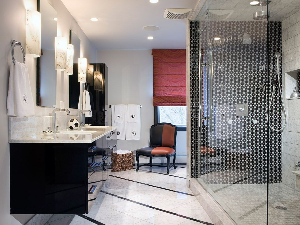 Grand Interior Bathroom With White Wall also Best Lighting Fixture Design