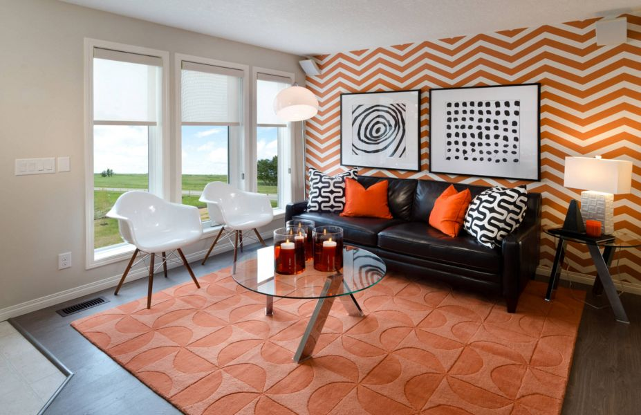 Horrible Zigzag Orange Wall  Living Space also Dark Sofa Design