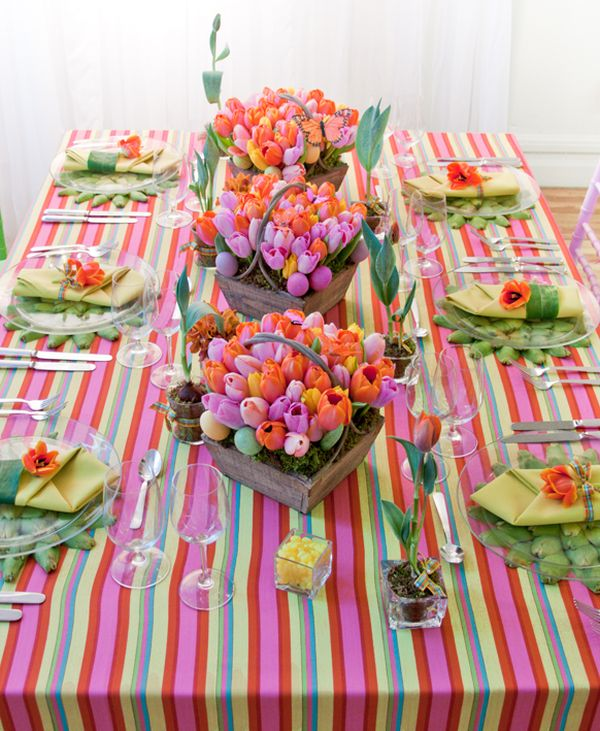 Impressive Dining Table Decor Using Spring Decorating Ideas With Various Flowers