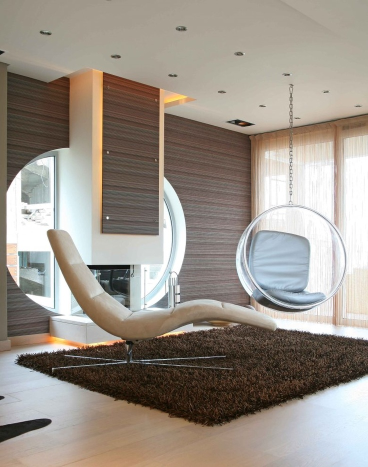 Impressive Family Room With Transparent Swing Chair also Lounge Chair