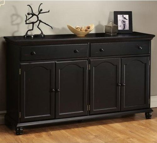 Impressive Style Of Black Wooden Buffet Table For Room Decor