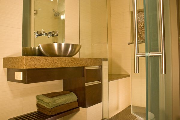 Interesting Cabinet With Steel Bowl Sink and Faucet For Designing Small Bathroom