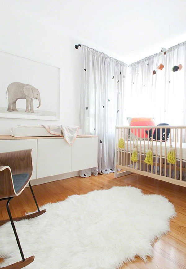 Interesting Interior Using Modern Baby Furniture With Crib also Rocking Chair
