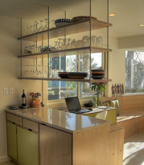 Beautiful Interesting Kitchen With Wall Shelve Also Cabinet And Window Seat Pictures Gallery