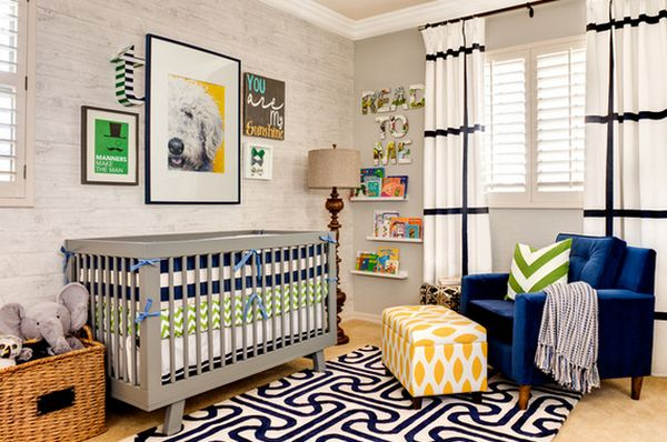 Lavish Baby Furniture With Gray Crib also Navy Arm Chair