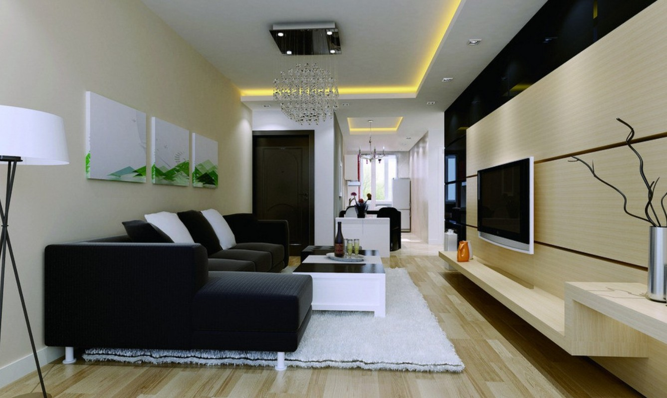 Delicieux Luxurious Interior Living Space Using Dark Sofa Bed And Neat Lighting