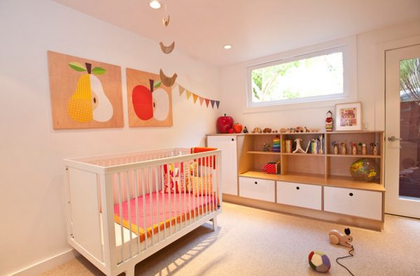 Marvelous Baby Furniture With Wooden Crib and Toy Shelve Design