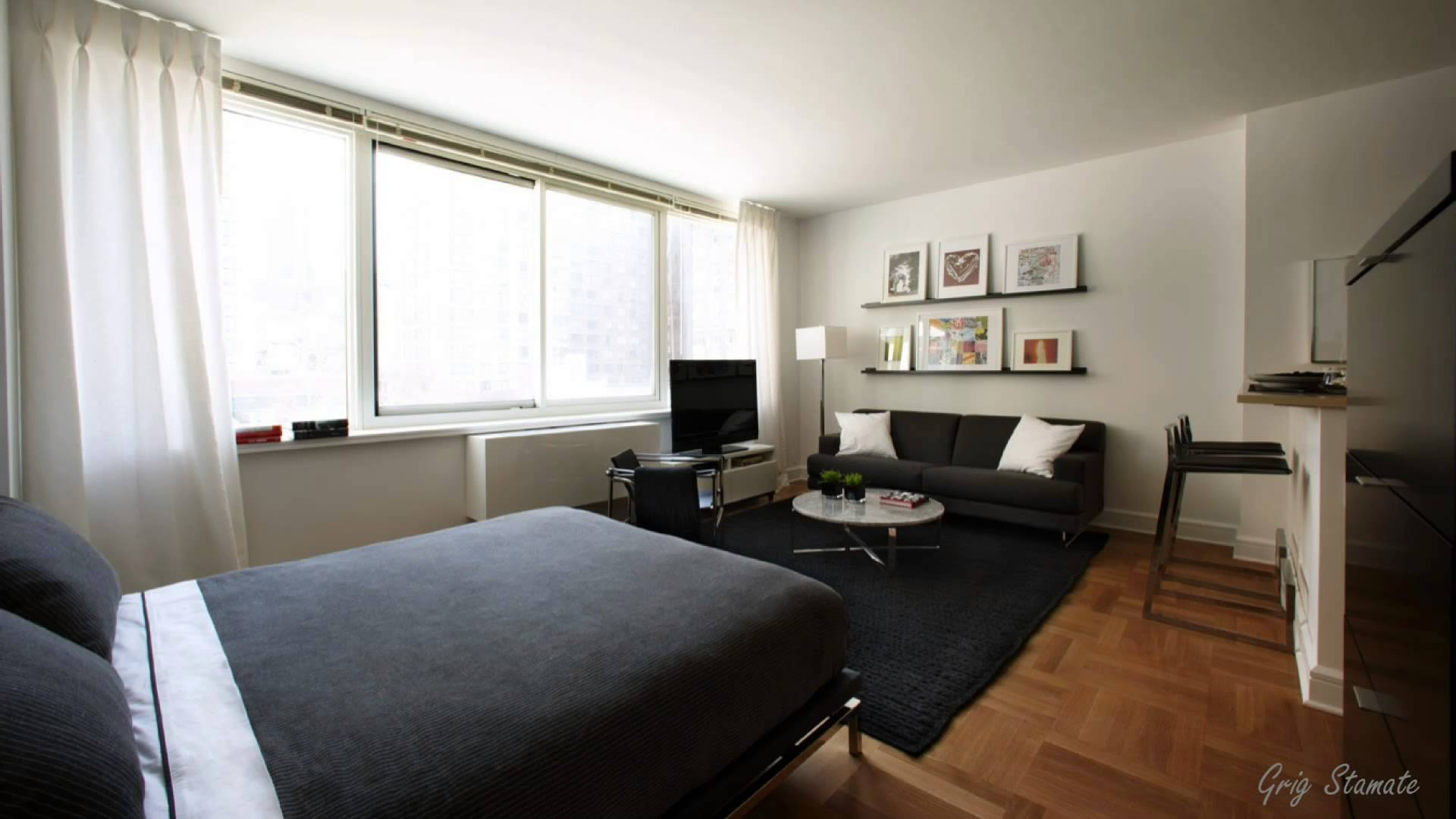 Superbe Marvelous Studio Apartment Layout With Bed Also TV And Sofa