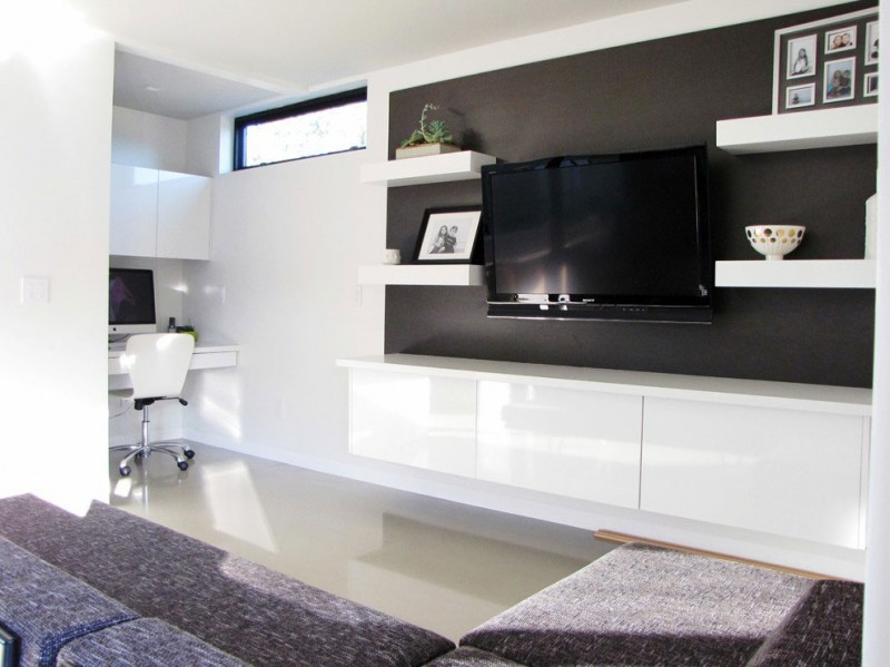 Nervous Family Room With Tv also Modern wall Shelves and Gray Sofa