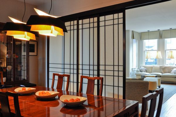 Nice Dining Spcae Design With Japanese Sliding Doors and Chandelier Above Table