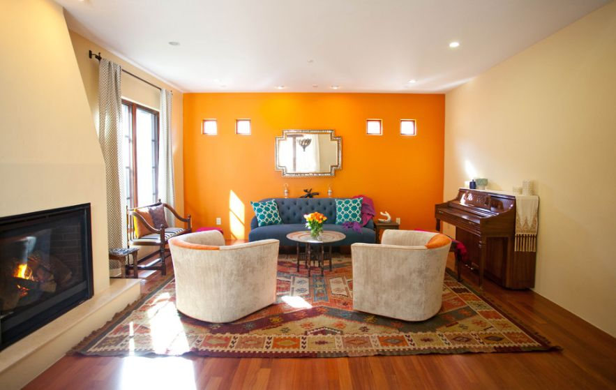 Nice Orange Living Room Background also Blue Sofa and Cute Table