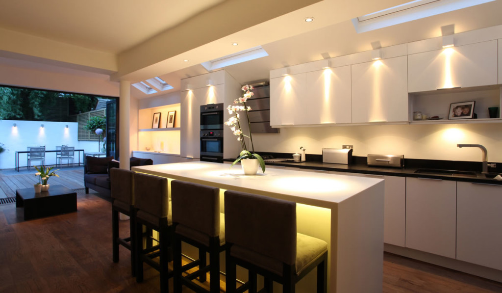 Opulent Interior Kitchen Using Ceiling Lamps also Bar Table and Chairs