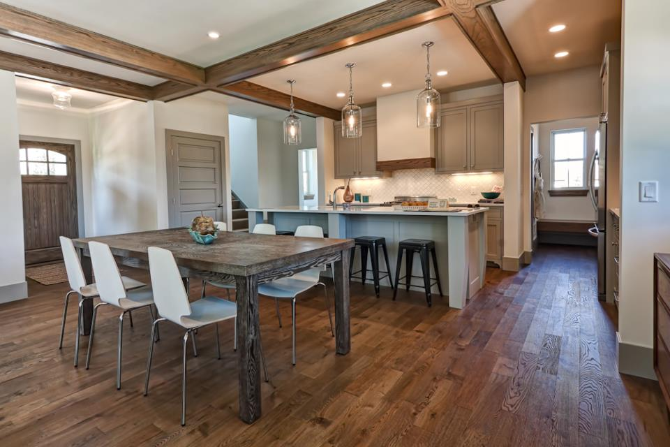 Opulent Kitchen Design With Wooden Floor also Dining Table