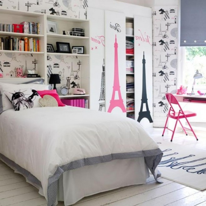Perfect Bedroom Painting Ideas Also Bed Plus Book Shelve and Desk