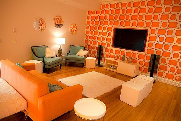 Designing and decorating the orange living room for the - Orange and brown living room ideas ...