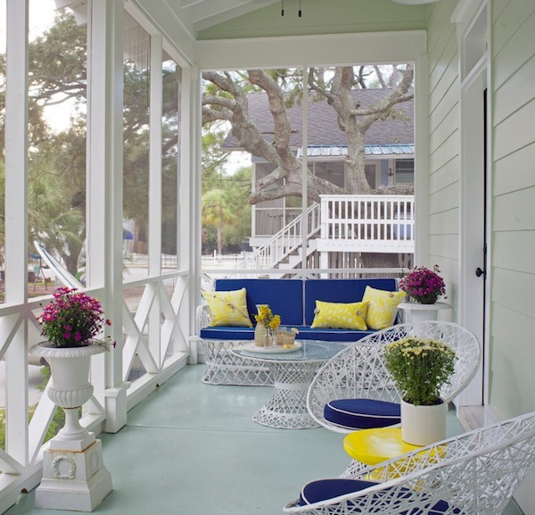 Pleasant Terrace With Spring Decorating Ideas Using Flowers and Neat Furniture