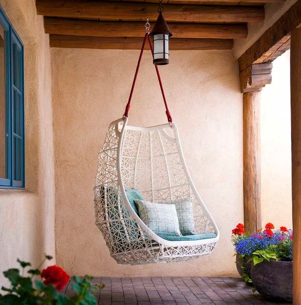Pleasing Room Decor With Rattan Swing Chair Indoor Also Pendant Light