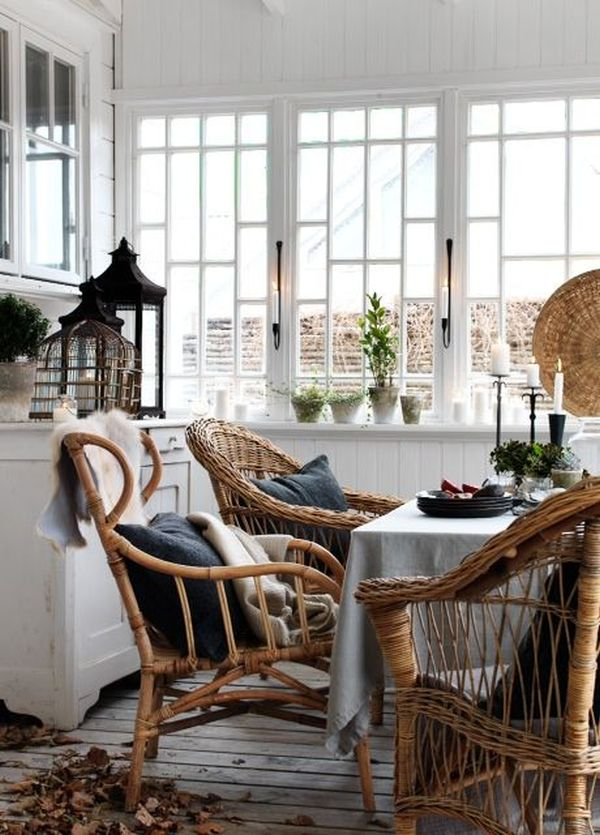 Radiant Wicker Chair and Table alsp Cabinet for Decorating Dining Room