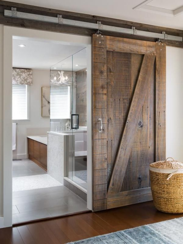 Ravishing Bathroom Design Using Rustic Modern Furniture Of Wooden Barn Door