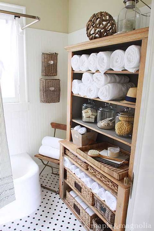 Ravishing Design Of Wooden Bathroom Cabinet Storage Near Chair For Toiletries