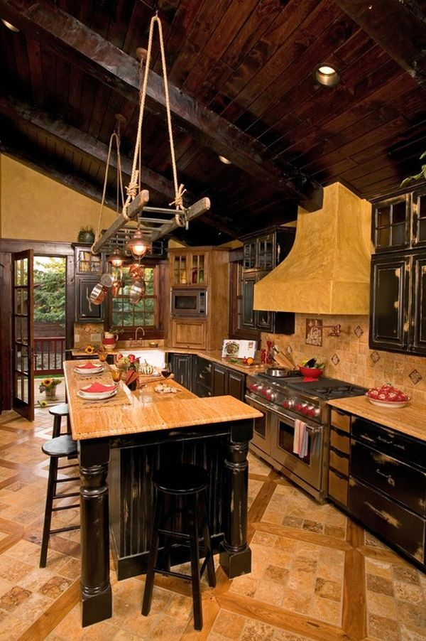Ravishing Interior Kitchen With Rustic Lighting also Chic Cabinet and Stool