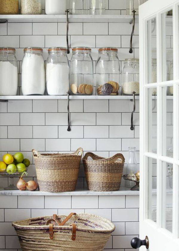 Seductive Kitchen Design Ideas With White Ceramic Backsplash Tile also Mount Wall shelve