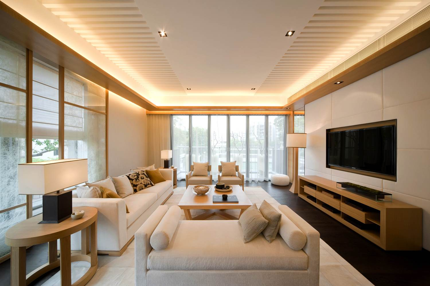 Seductive Living Room Lights Also White Sofa Plus Brown Wooden Coffee Table