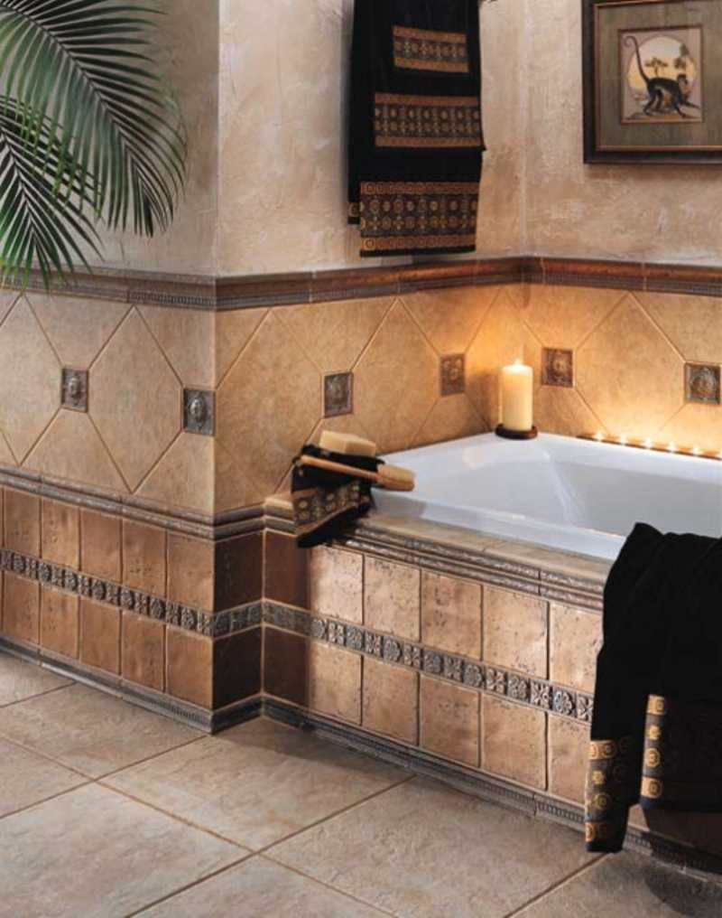 Seductive Tile Bathroom Ideas Also Lush Bathtub and Candle Decoration