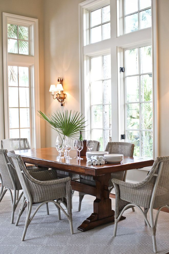 Seductive Wooden Table also Gray Wicker Dining Room Chairs Plus Wall Lamps