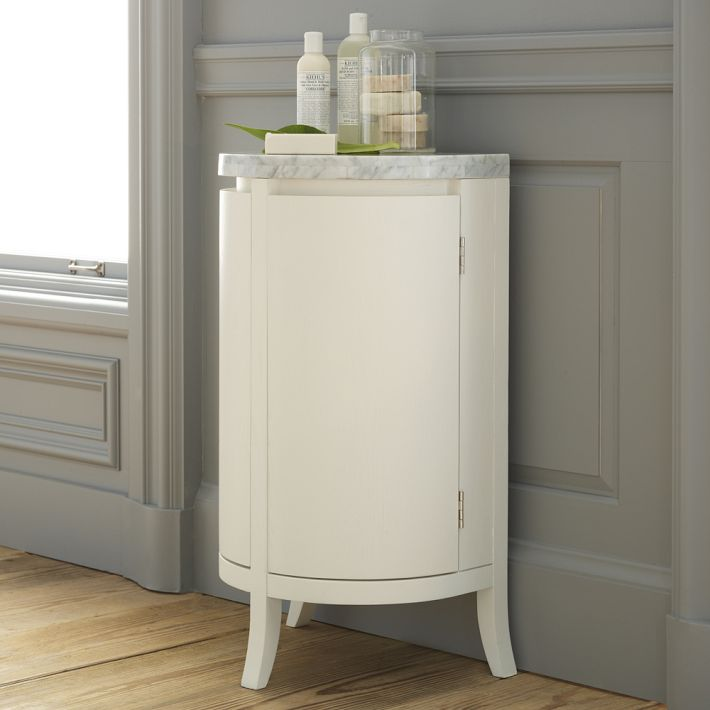 Simple Design Of White Bathroom Cabinet Storage With Marble Top