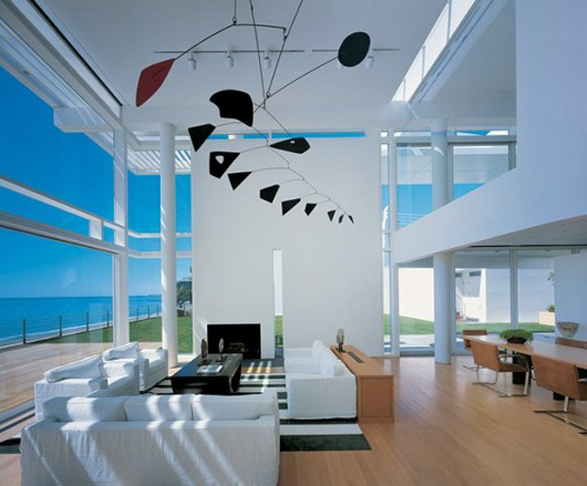 Stunning Living Space With Wood Flooring also Contemporary Furniture and Fireplace