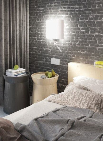 Sumptuous Interior With Wall Lights For Bedroom also Double Table Beside Bed