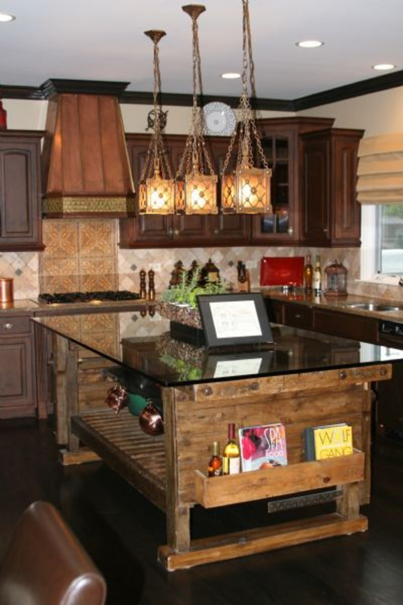 Sweet Kitchen Style Using Pendant Lighting also Bar Table and Wood Floor