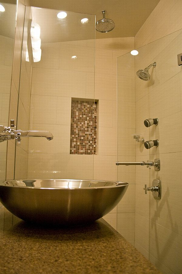 Tantalizing Shower Area also Bowl Sink and Steel Faucet On Cabinet For Small Bathroom