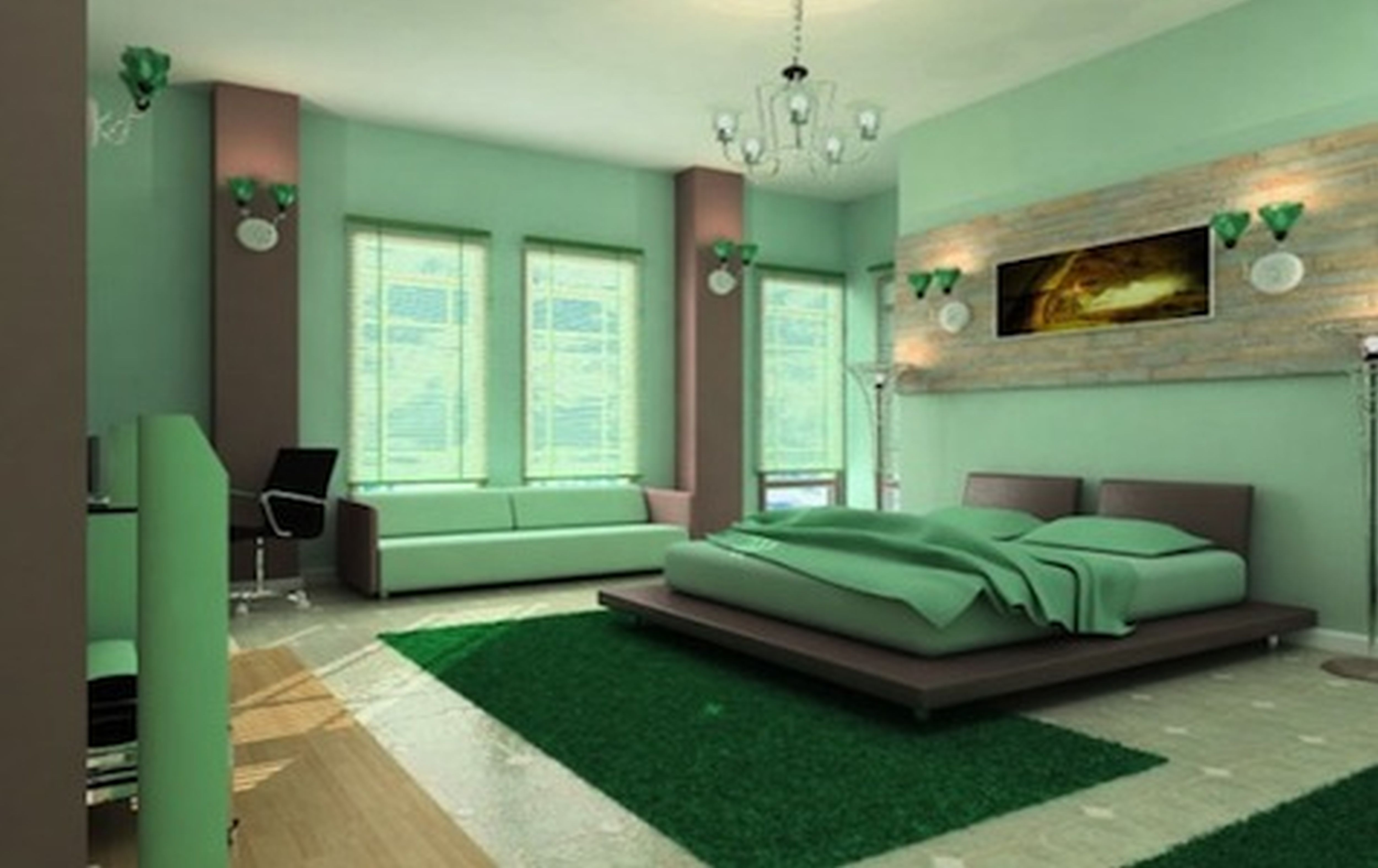 Unique Interior Bedroom With Lavish Painting also Modern Bed and Chandelier