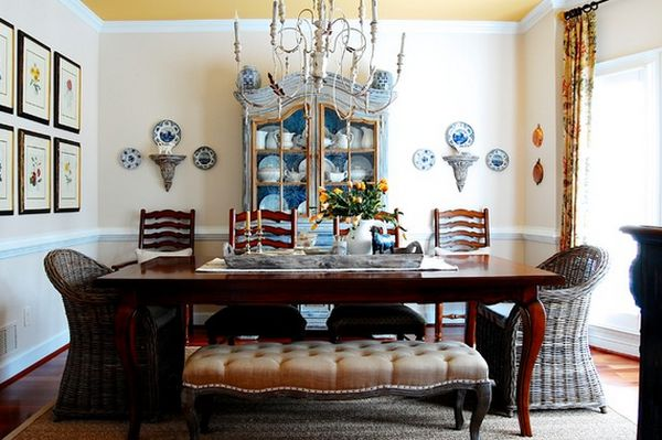 Wonderful Interior With Wicker Dining Room Chairs also Tufted Bench and Table